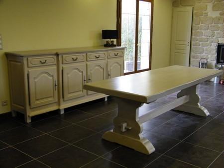 Peindre une table en bois en blanc suprieur table salle a manger fly table basse en bois pour - Meuble de salle a manger rustique ...
